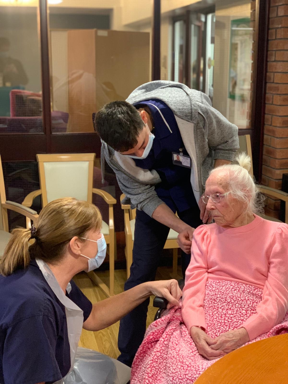 GPs vaccinate Mary, 108, at Abbeyrose Court Care Home